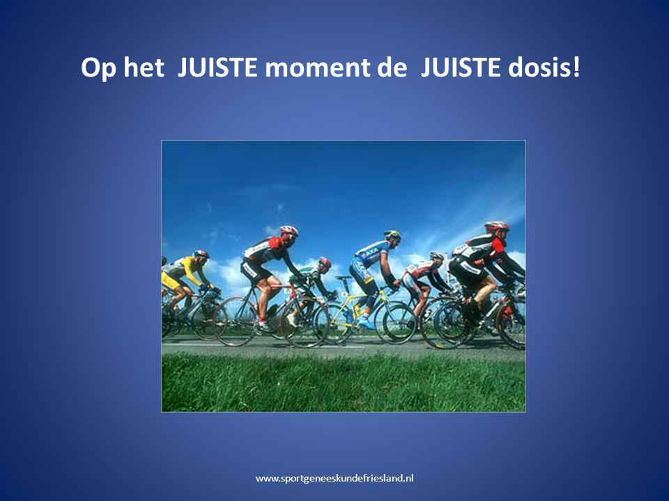 Op het JUISTE moment de JUISTE dosis! www.sportgeneeskundefriesland.nl