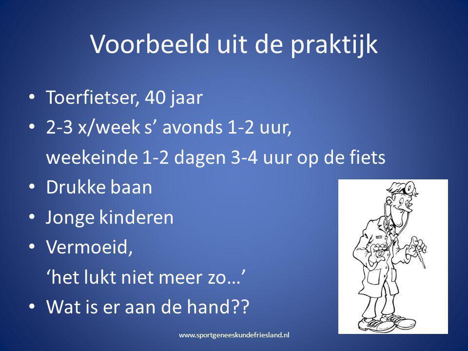 Voorbeeld uit de praktijk • Toerfietser, 40 jaar • 2-3 x/week s' avonds 1-2 uur, weekeinde 1-2 dagen 3-4 uur op de fiets • Drukke baan • Jonge kindere