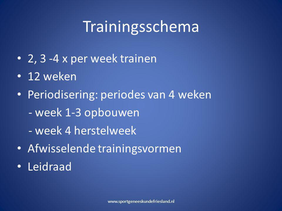 Trainingsschema • 2, 3 -4 x per week trainen • 12 weken • Periodisering: periodes van 4 weken - week 1-3 opbouwen - week 4 herstelweek • Afwisselende