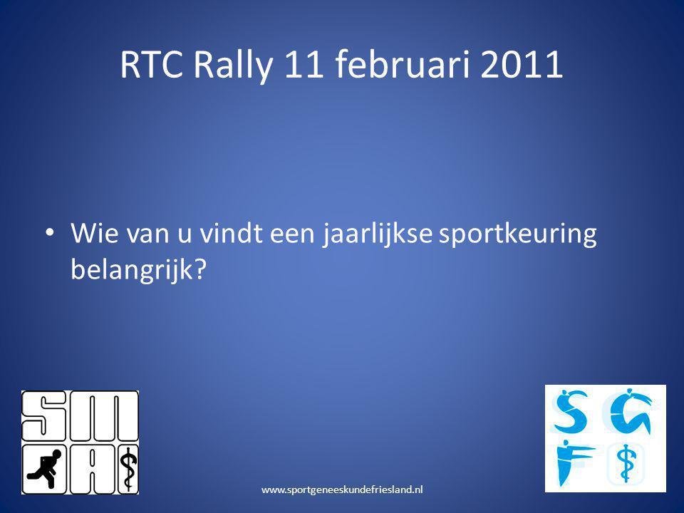 RTC Rally 11 februari 2011 • Wie van u vindt een jaarlijkse sportkeuring belangrijk? www.sportgeneeskundefriesland.nl