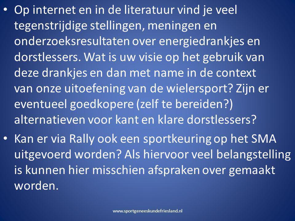 www.sportgeneeskundefriesland.nl • Op internet en in de literatuur vind je veel tegenstrijdige stellingen, meningen en onderzoeksresultaten over energ