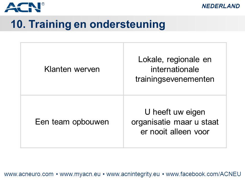 Klanten werven Lokale, regionale en internationale trainingsevenementen Een team opbouwen U heeft uw eigen organisatie maar u staat er nooit alleen vo
