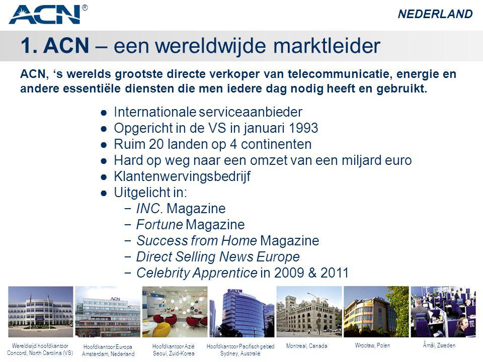 1. ACN – een wereldwijde marktleider NEDERLAND ●Internationale serviceaanbieder ●Opgericht in de VS in januari 1993 ●Ruim 20 landen op 4 continenten ●