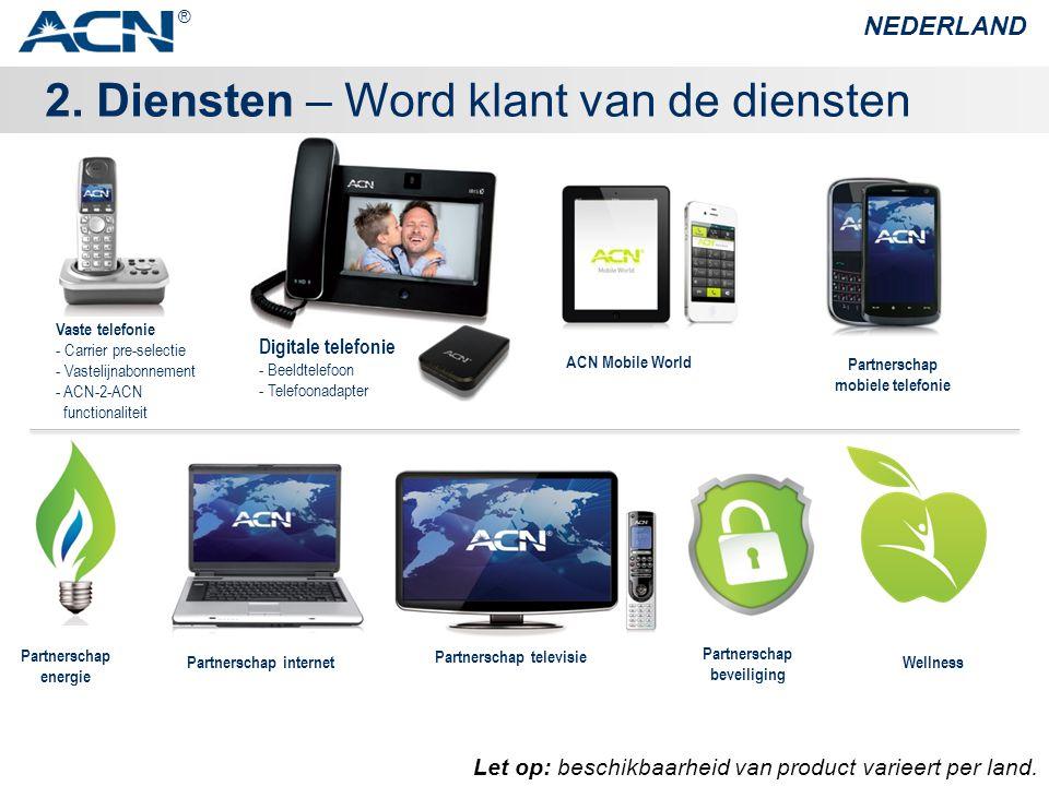 2. Diensten – Word klant van de diensten NEDERLAND ® Let op: beschikbaarheid van product varieert per land. Wellness Digitale telefonie - Beeldtelefoo
