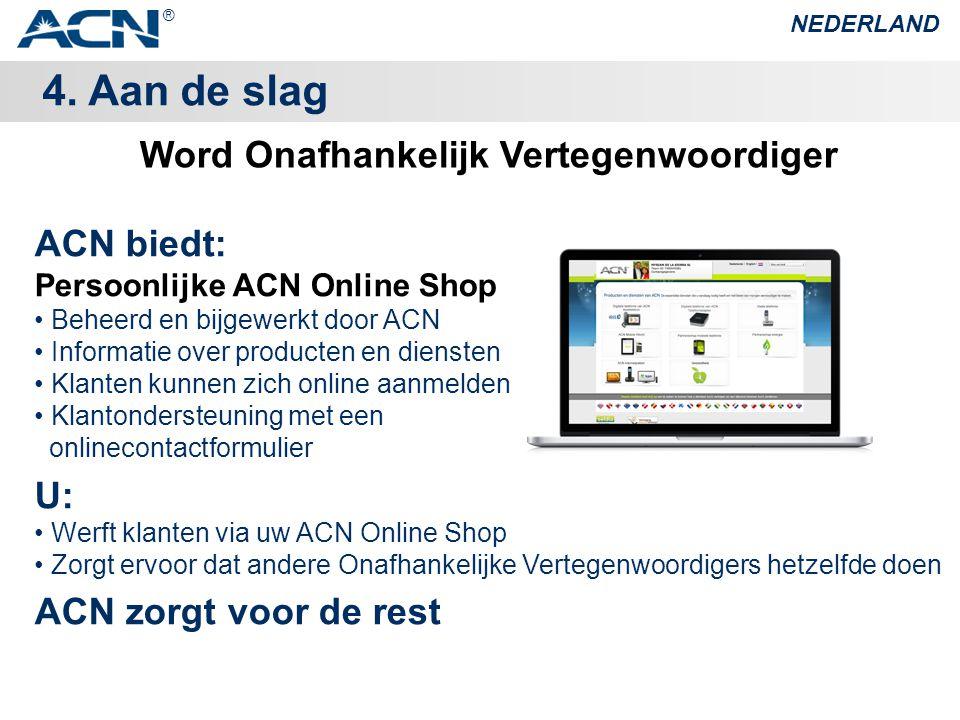 4. Aan de slag NEDERLAND ACN biedt: Persoonlijke ACN Online Shop • Beheerd en bijgewerkt door ACN • Informatie over producten en diensten • Klanten ku
