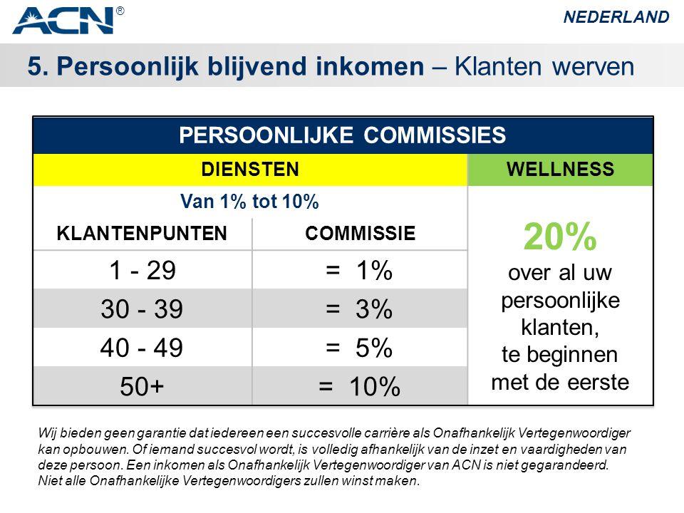 5. Persoonlijk blijvend inkomen – Klanten werven NEDERLAND ® PERSOONLIJKE COMMISSIES DIENSTENWELLNESS Van 1% tot 10% 20% over al uw persoonlijke klant