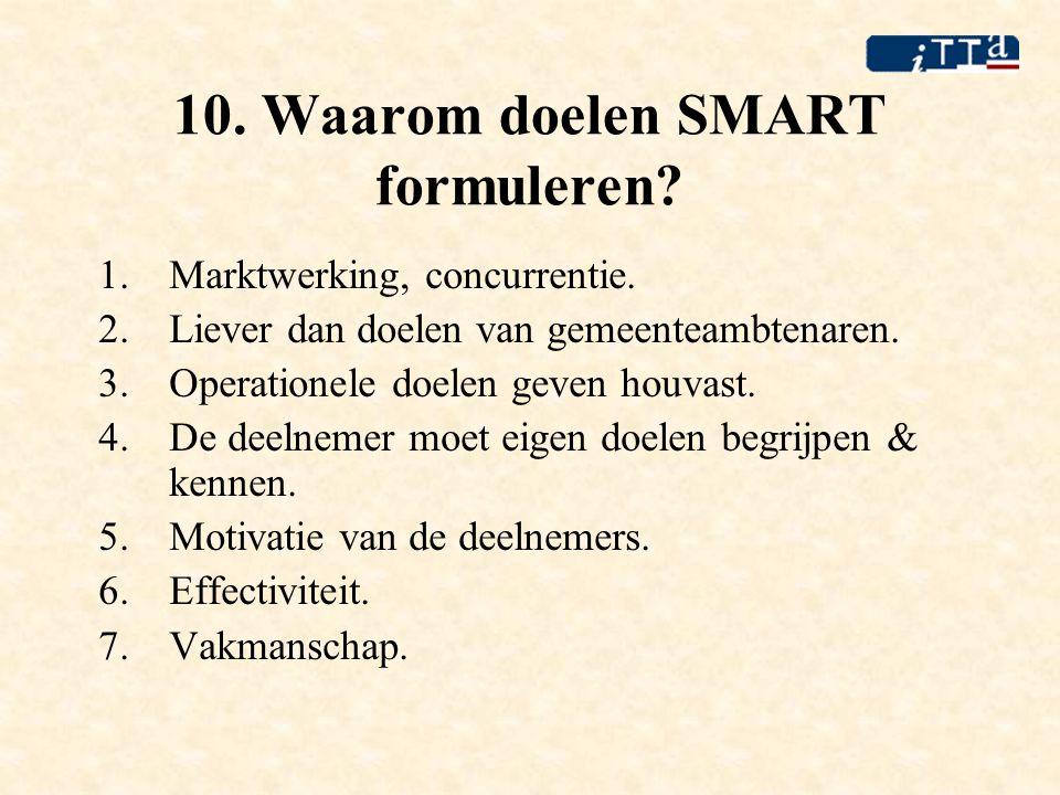 10. Waarom doelen SMART formuleren? 1.Marktwerking, concurrentie. 2.Liever dan doelen van gemeenteambtenaren. 3.Operationele doelen geven houvast. 4.D