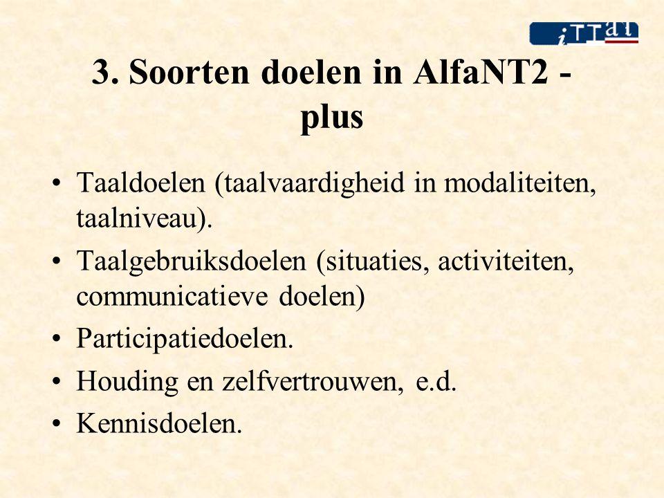3. Soorten doelen in AlfaNT2 - plus •Taaldoelen (taalvaardigheid in modaliteiten, taalniveau). •Taalgebruiksdoelen (situaties, activiteiten, communica