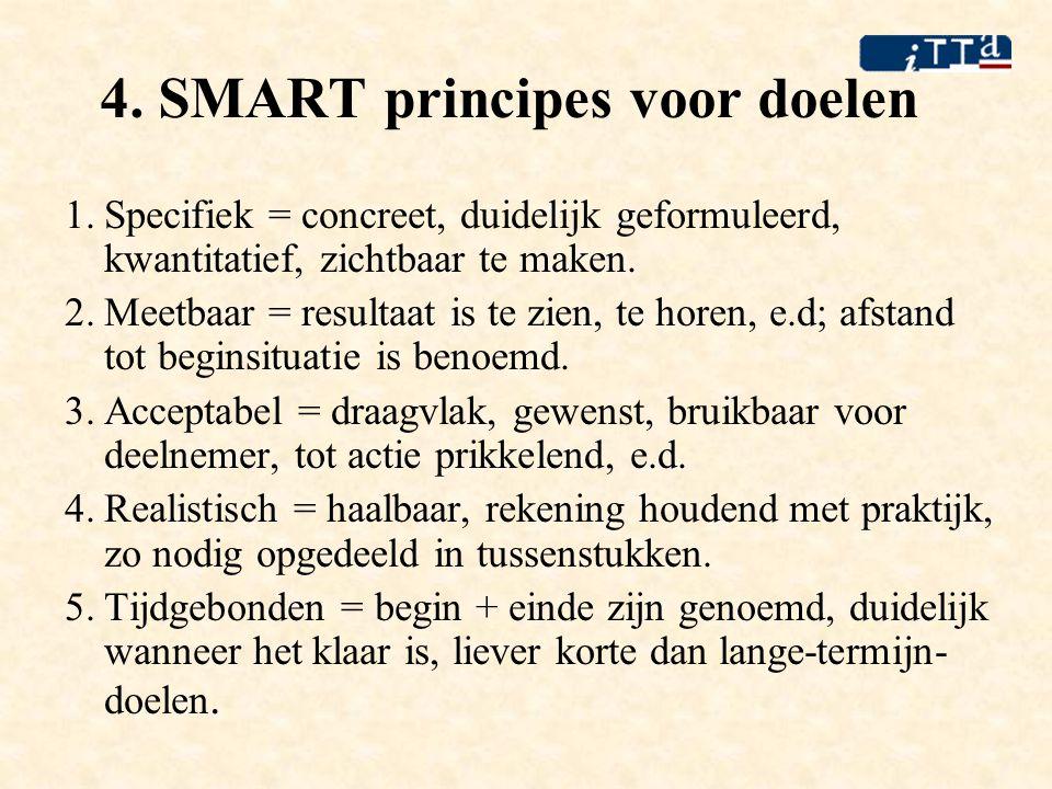 4. SMART principes voor doelen 1.Specifiek = concreet, duidelijk geformuleerd, kwantitatief, zichtbaar te maken. 2.Meetbaar = resultaat is te zien, te