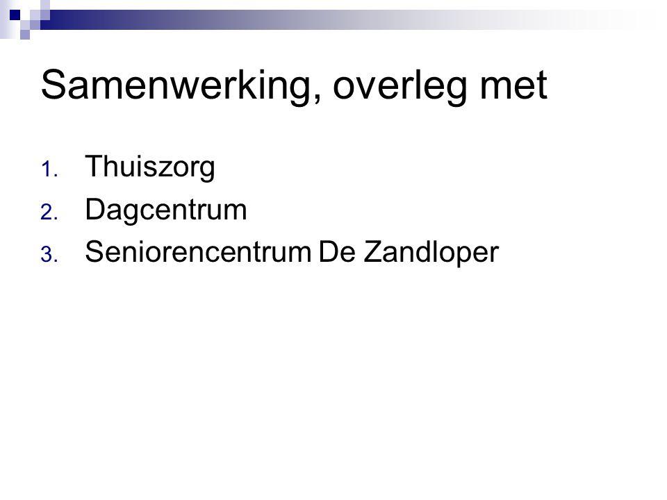 Samenwerking, overleg met 1. Thuiszorg 2. Dagcentrum 3. Seniorencentrum De Zandloper