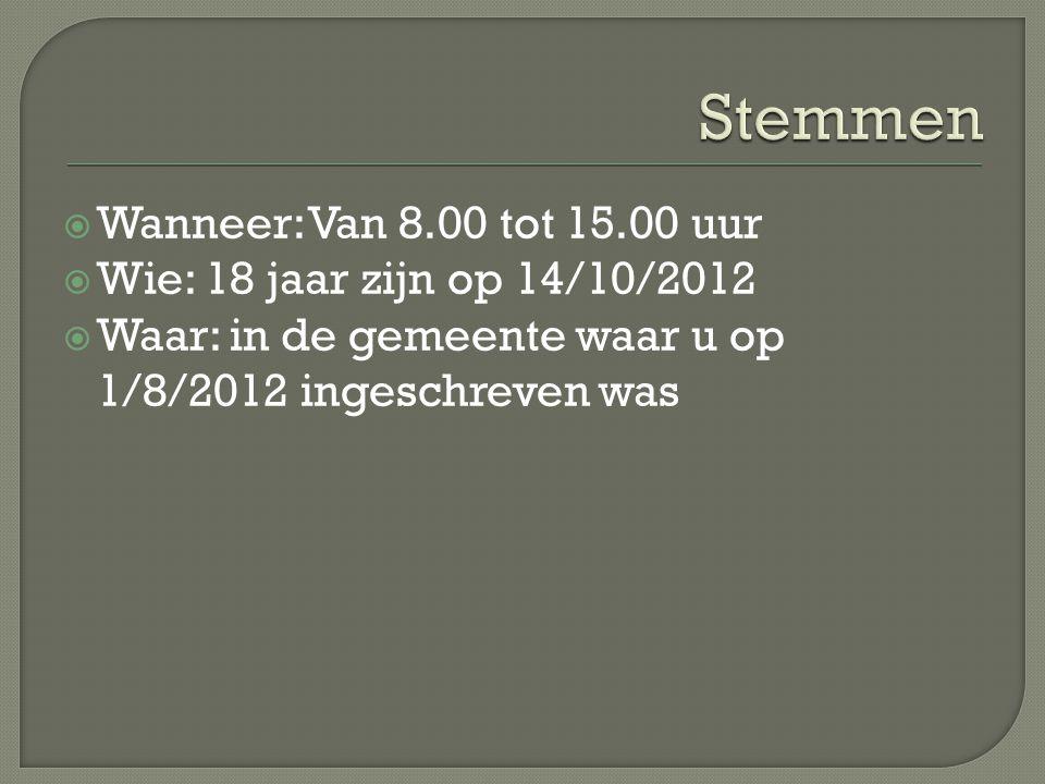  Wanneer: Van 8.00 tot 15.00 uur  Wie: 18 jaar zijn op 14/10/2012  Waar: in de gemeente waar u op 1/8/2012 ingeschreven was