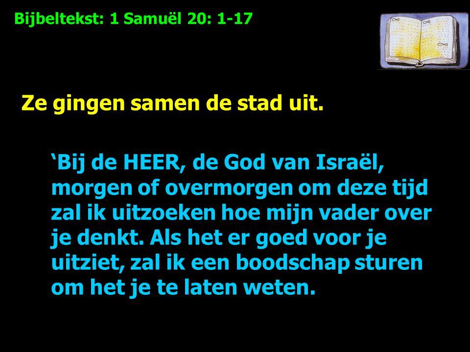 Bijbeltekst: 1 Samuël 20: 1-17 'Bij de HEER, de God van Israël, morgen of overmorgen om deze tijd zal ik uitzoeken hoe mijn vader over je denkt.