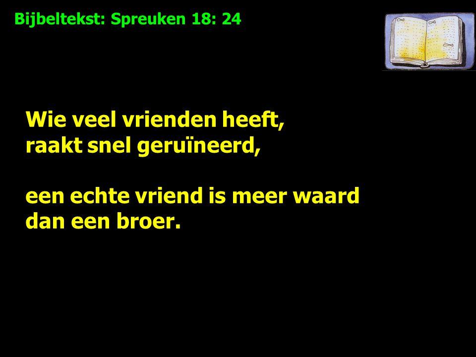 Bijbeltekst: Spreuken 18: 24 Wie veel vrienden heeft, raakt snel geruïneerd, een echte vriend is meer waard dan een broer.