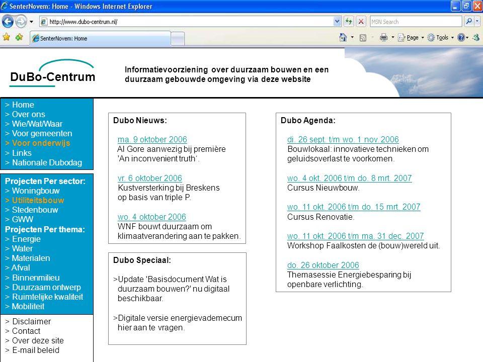 DuBo-Centrum > Disclaimer > Contact > Over deze site > E-mail beleid > Home > Over ons > Wie/Wat/Waar > Voor gemeenten > Voor onderwijs > Links > Nati
