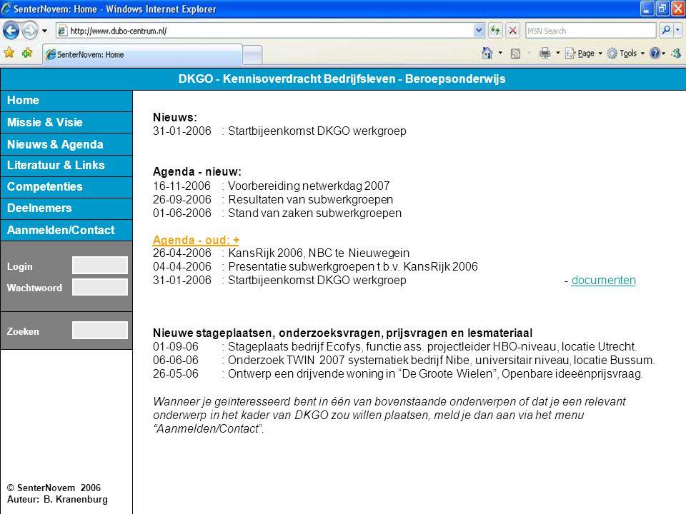 © SenterNovem 2006 Auteur: B. Kranenburg Home Missie & Visie Competenties Literatuur & Links Deelnemers Aanmelden/Contact DKGO - Kennisoverdracht Bedr