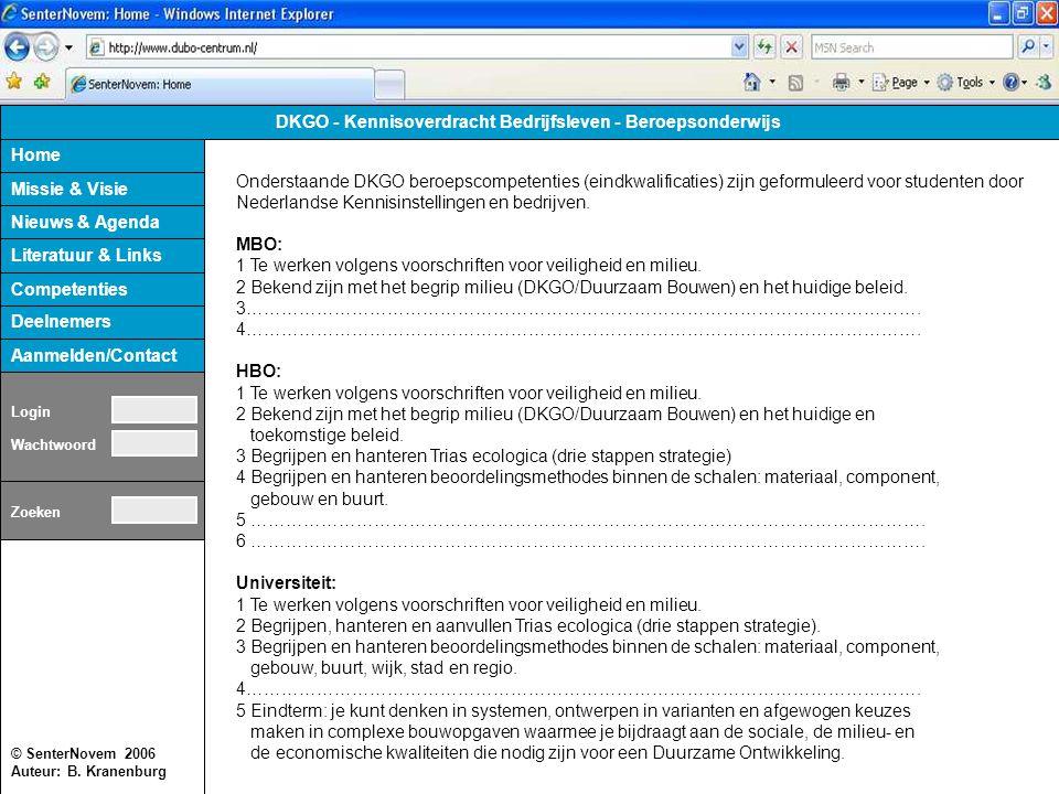 © SenterNovem 2006 Auteur: B. Kranenburg Home Missie & Visie Nieuws & Agenda Literatuur & Links Deelnemers Aanmelden/Contact DKGO - Kennisoverdracht B