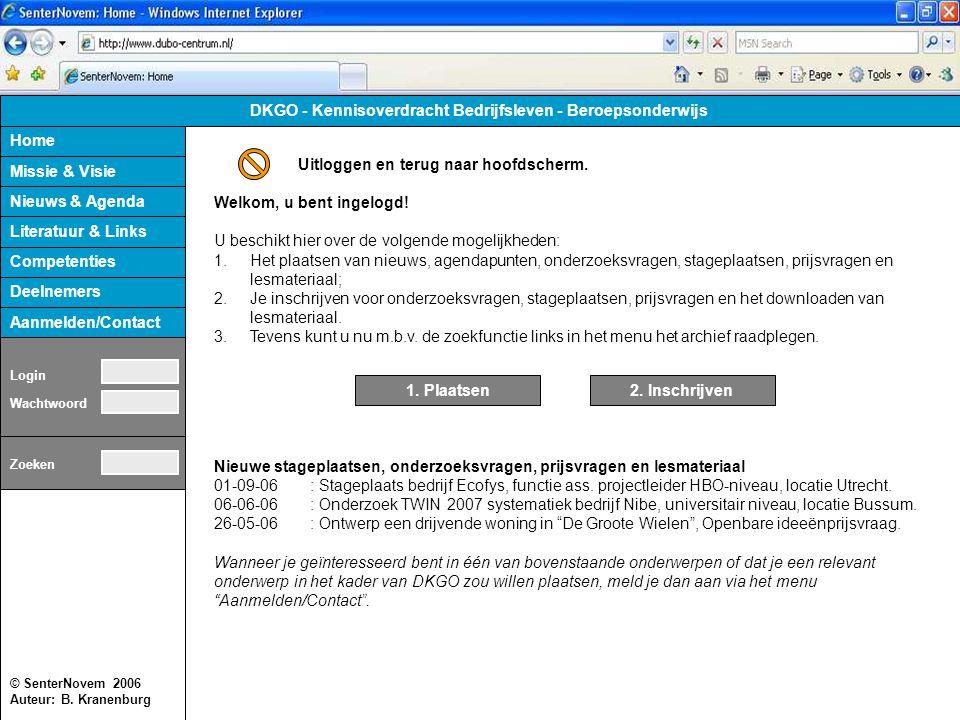 © SenterNovem 2006 Auteur: B. Kranenburg Home Missie & Visie Nieuws & Agenda Competenties Literatuur & Links Deelnemers Aanmelden/Contact DKGO - Kenni