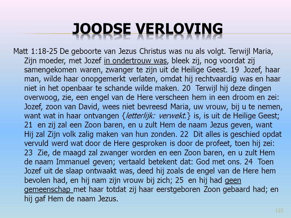 Matt 1:18-25 De geboorte van Jezus Christus was nu als volgt. Terwijl Maria, Zijn moeder, met Jozef in ondertrouw was, bleek zij, nog voordat zij same