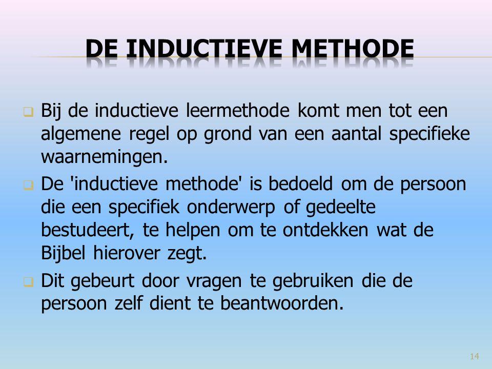 Bij de inductieve leermethode komt men tot een algemene regel op grond van een aantal specifieke waarnemingen.  De 'inductieve methode' is bedoeld