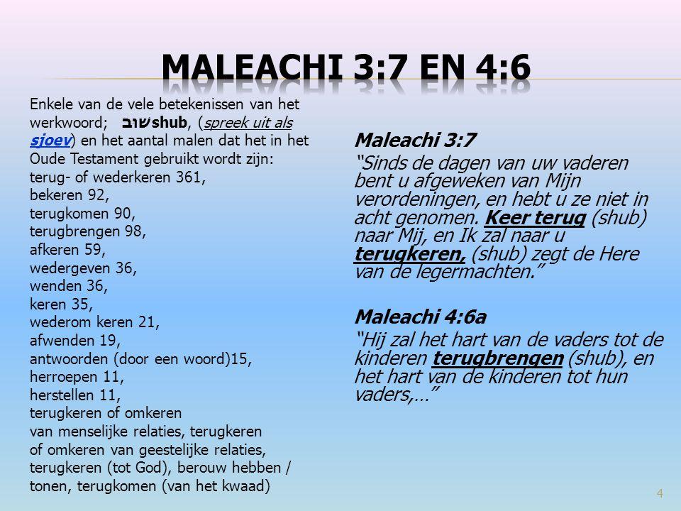 Enkele van de vele betekenissen van het werkwoord; שׁוּבshub, (spreek uit als sjoev) en het aantal malen dat het in het Oude Testament gebruikt wordt