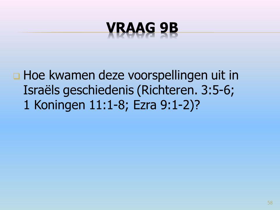  Hoe kwamen deze voorspellingen uit in Israëls geschiedenis (Richteren. 3:5-6; 1 Koningen 11:1-8; Ezra 9:1-2)? 58