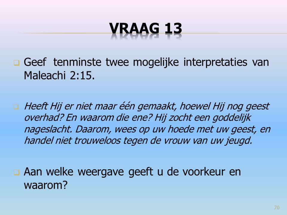  Geef tenminste twee mogelijke interpretaties van Maleachi 2:15.  Heeft Hij er niet maar één gemaakt, hoewel Hij nog geest overhad? En waarom die en