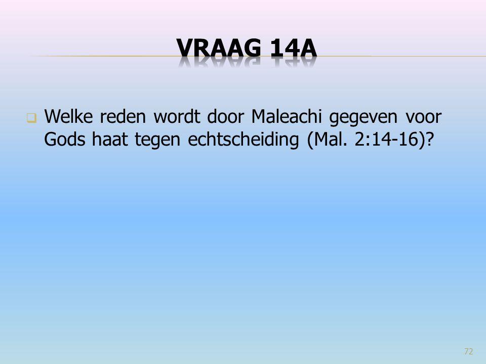  Welke reden wordt door Maleachi gegeven voor Gods haat tegen echtscheiding (Mal. 2:14-16)? 72