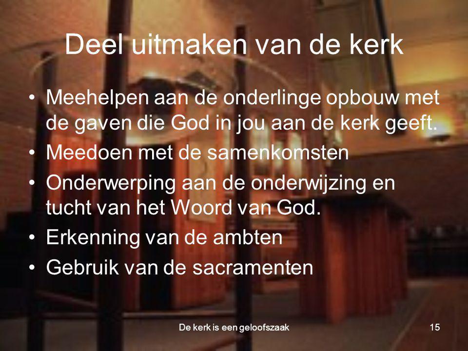 De kerk is een geloofszaak15 Deel uitmaken van de kerk •Meehelpen aan de onderlinge opbouw met de gaven die God in jou aan de kerk geeft. •Meedoen met
