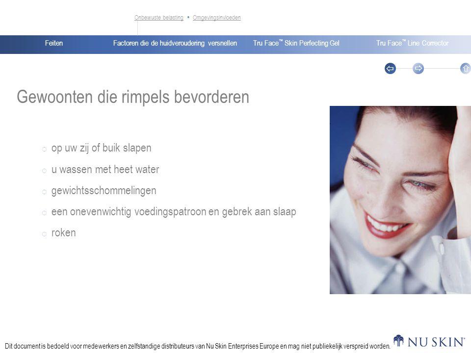 Factoren die de huidveroudering versnellenFeitenTru Face ™ Skin Perfecting GelTru Face ™ Line Corrector    Dit document is bedoeld voor medewerkers en zelfstandige distributeurs van Nu Skin Enterprises Europe en mag niet publiekelijk verspreid worden.