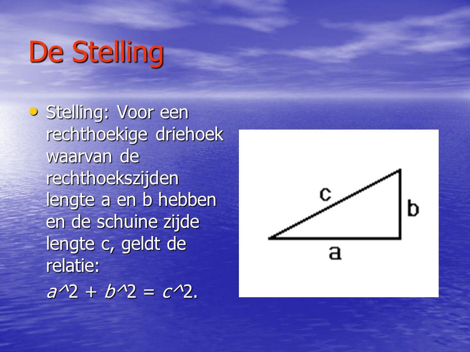 De Stelling • Stelling: Voor een rechthoekige driehoek waarvan de rechthoekszijden lengte a en b hebben en de schuine zijde lengte c, geldt de relatie: a^2 + b^2 = c^2.