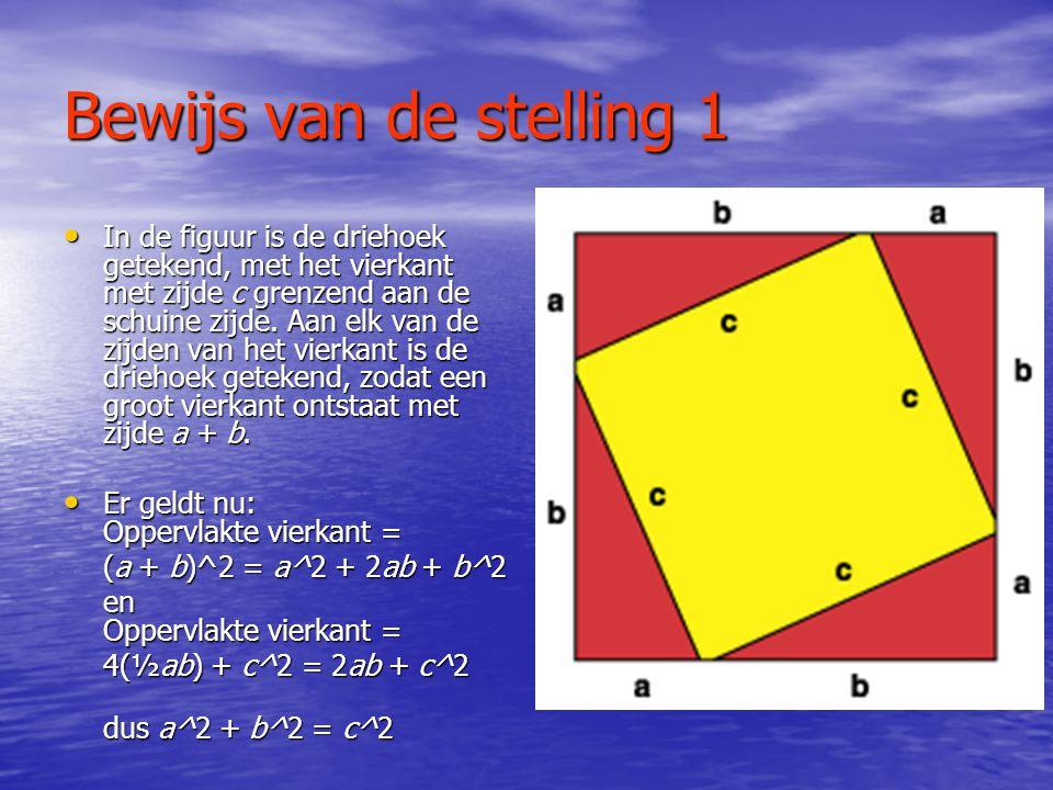 Voorbeeld 2 • Neem b = 7 • Neem c = 25 • Wat is dan a? • c^2 – b^2 = a^2 • Dus 25^2 – 7^2 = a^2 • a^2 = 576 • a =  576 = 24