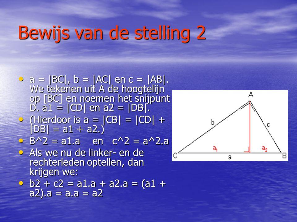 Bewijs van de stelling 1 • In de figuur is de driehoek getekend, met het vierkant met zijde c grenzend aan de schuine zijde. Aan elk van de zijden van