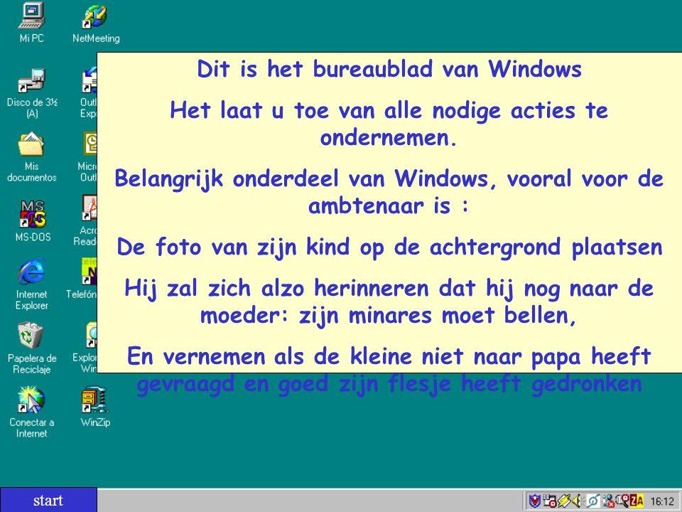 Dit is het bureaublad van Windows Het laat u toe van alle nodige acties te ondernemen. Belangrijk onderdeel van Windows, vooral voor de ambtenaar is :
