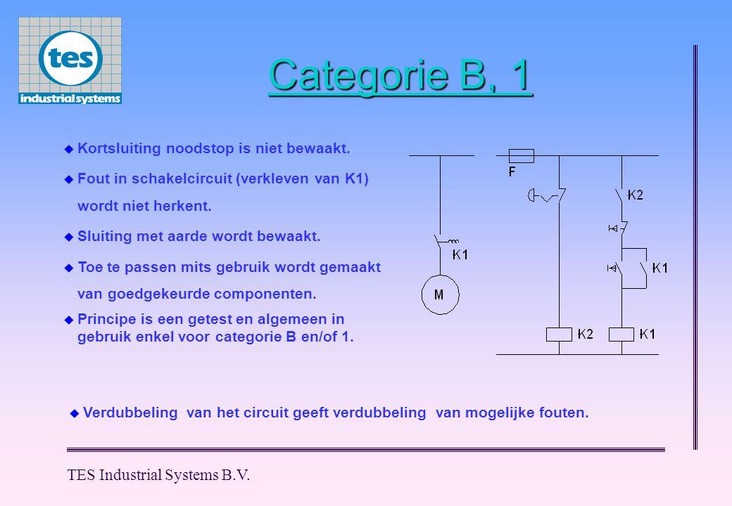 TES Industrial Systems B.V. Categorie B, 1  Kortsluiting noodstop is niet bewaakt.  Fout in schakelcircuit (verkleven van K1) wordt niet herkent. 