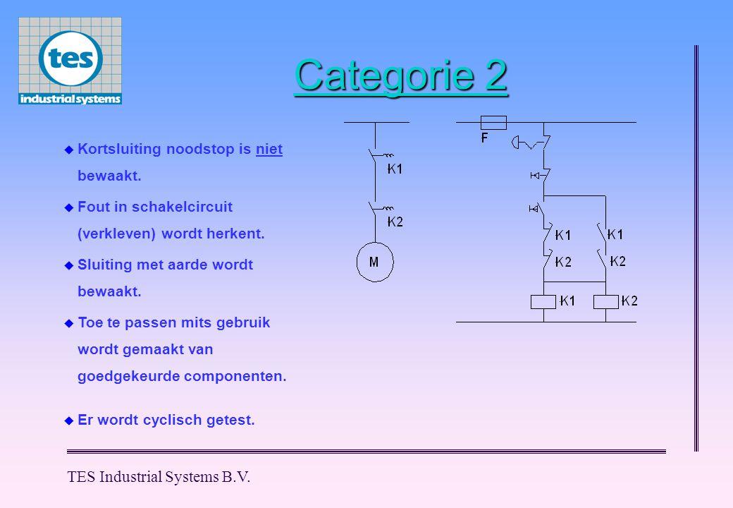 TES Industrial Systems B.V. Categorie 2  Er wordt cyclisch getest.  Kortsluiting noodstop is niet bewaakt.  Fout in schakelcircuit (verkleven) word