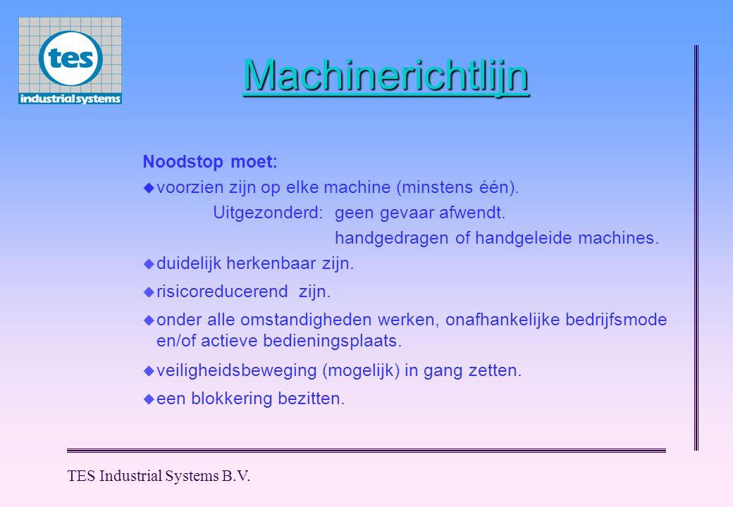 Machinerichtlijn Noodstop moet:  voorzien zijn op elke machine (minstens één). Uitgezonderd:geen gevaar afwendt. handgedragen of handgeleide machines