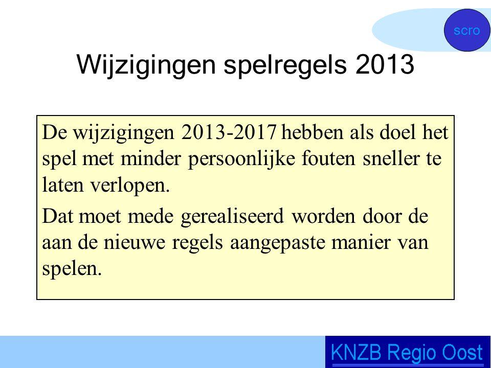 Wijzigingen spelregels 2013 De wijzigingen 2013-2017 hebben als doel het spel met minder persoonlijke fouten sneller te laten verlopen.