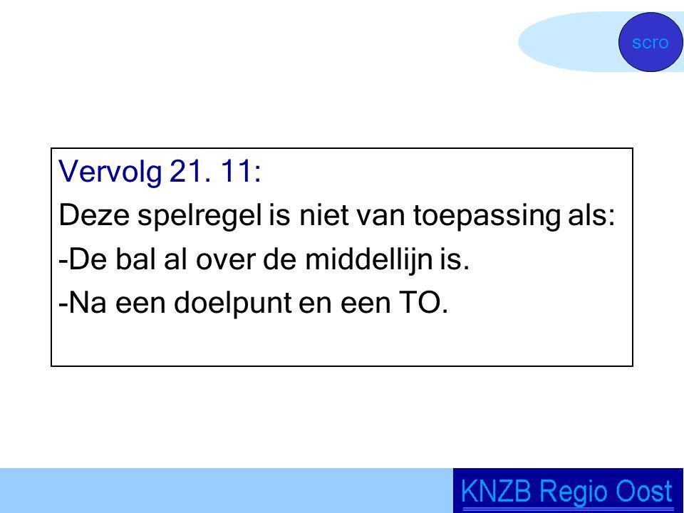 Vervolg 21. 11: Deze spelregel is niet van toepassing als: -De bal al over de middellijn is.