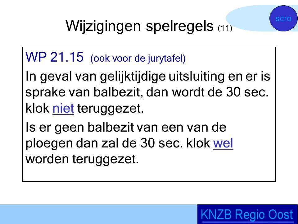 Wijzigingen spelregels (11) WP 21.15 (ook voor de jurytafel) In geval van gelijktijdige uitsluiting en er is sprake van balbezit, dan wordt de 30 sec.