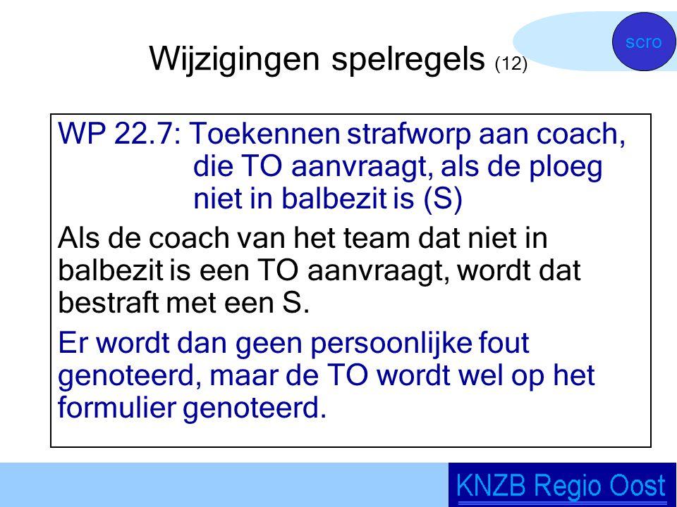 Wijzigingen spelregels (12) WP 22.7: Toekennen strafworp aan coach, die TO aanvraagt, als de ploeg niet in balbezit is (S) Als de coach van het team dat niet in balbezit is een TO aanvraagt, wordt dat bestraft met een S.
