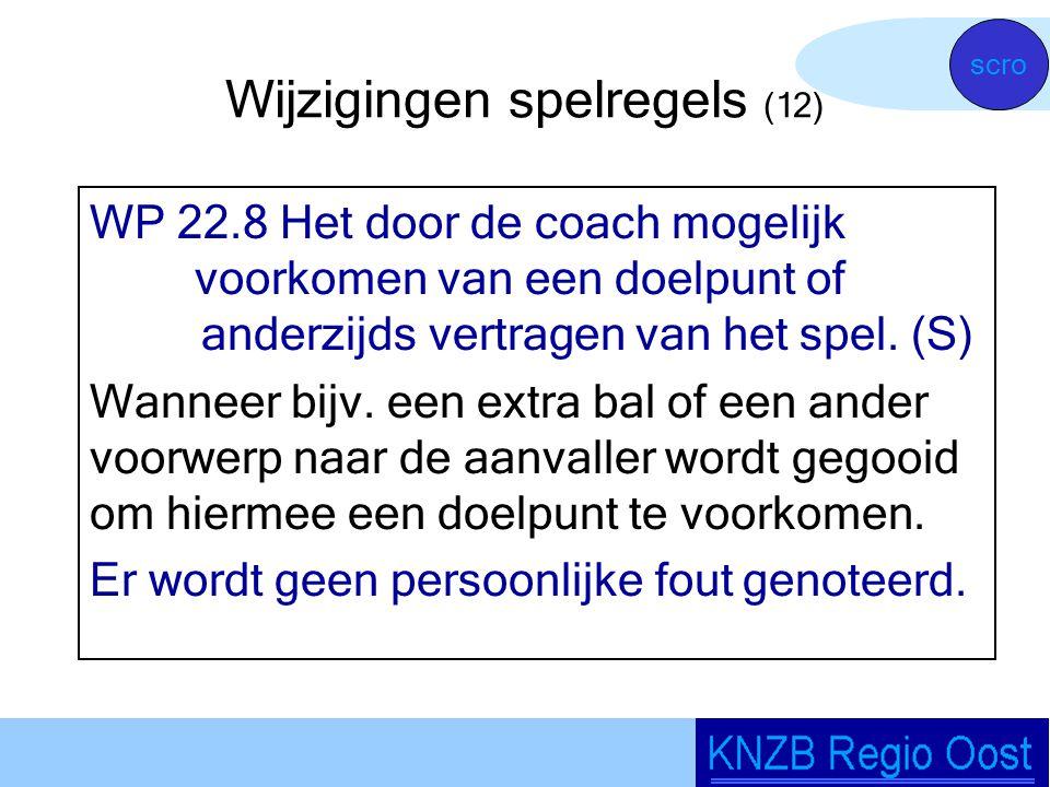 Wijzigingen spelregels (12) WP 22.8 Het door de coach mogelijk voorkomen van een doelpunt of anderzijds vertragen van het spel.