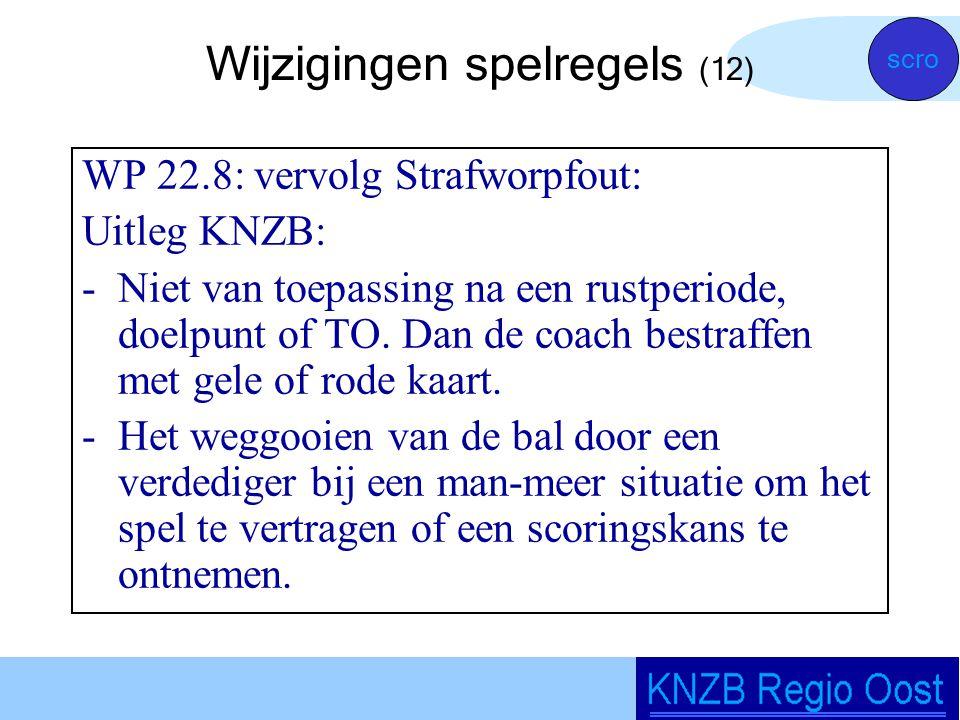 WP 22.8: vervolg Strafworpfout: Uitleg KNZB: -Niet van toepassing na een rustperiode, doelpunt of TO.