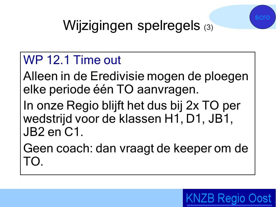 Wijzigingen spelregels (3) WP 12.1 Time out Alleen in de Eredivisie mogen de ploegen elke periode één TO aanvragen.