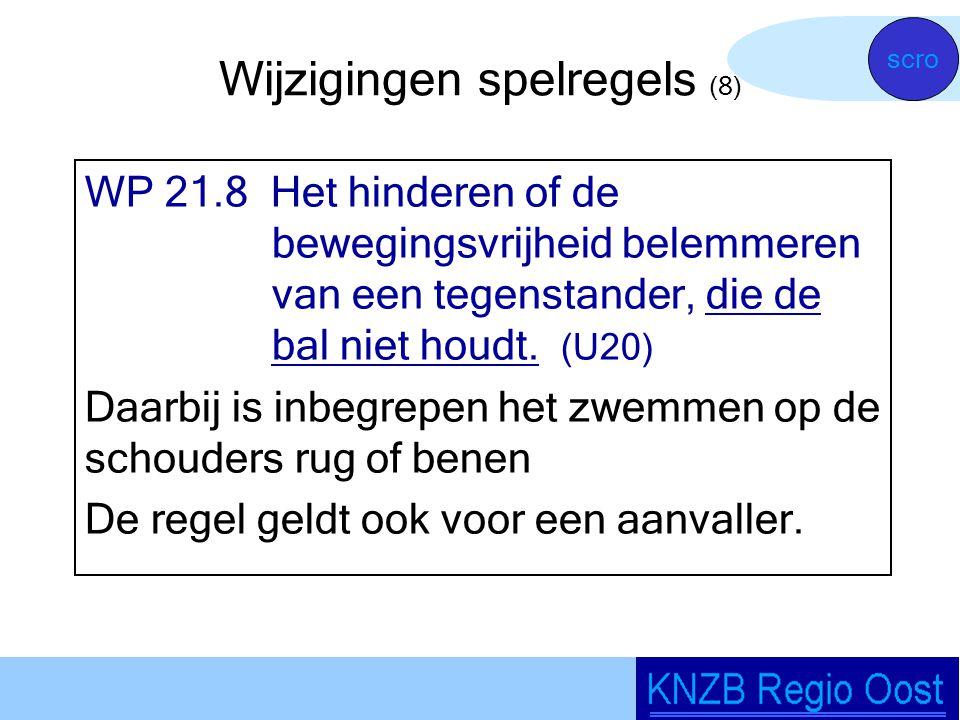 Wijzigingen spelregels (8) WP 21.8 Het hinderen of de bewegingsvrijheid belemmeren van een tegenstander, die de bal niet houdt.