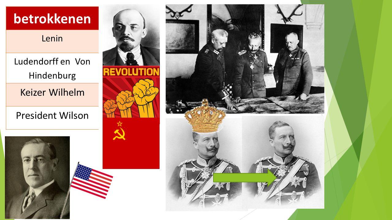 betrokkenen Lenin Ludendorff en Von Hindenburg Keizer Wilhelm President Wilson