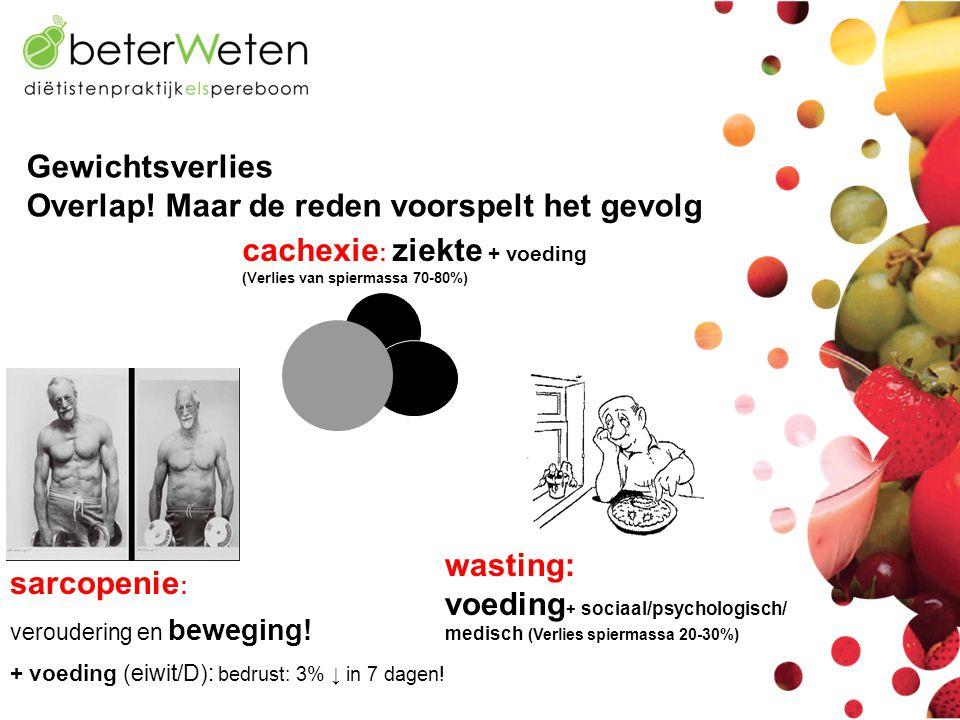 cachexie : ziekte + voeding (Verlies van spiermassa 70-80%) Gewichtsverlies Overlap! Maar de reden voorspelt het gevolg sarcopenie : veroudering en be
