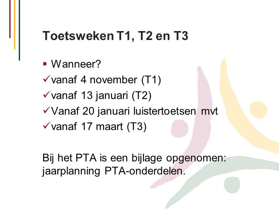Toetsweken T1, T2 en T3  Wanneer?  vanaf 4 november (T1)  vanaf 13 januari (T2)  Vanaf 20 januari luistertoetsen mvt  vanaf 17 maart (T3) Bij het