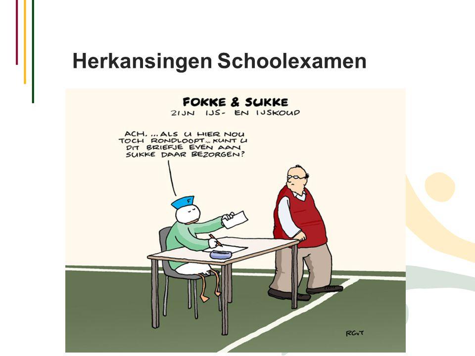 Herkansingen Schoolexamen  Wanneer? Na elke toetsweek.  Wat? Maximaal 1 herkansing na elke toetsweek.  Herkansingen kunnen niet opgespaard worden.