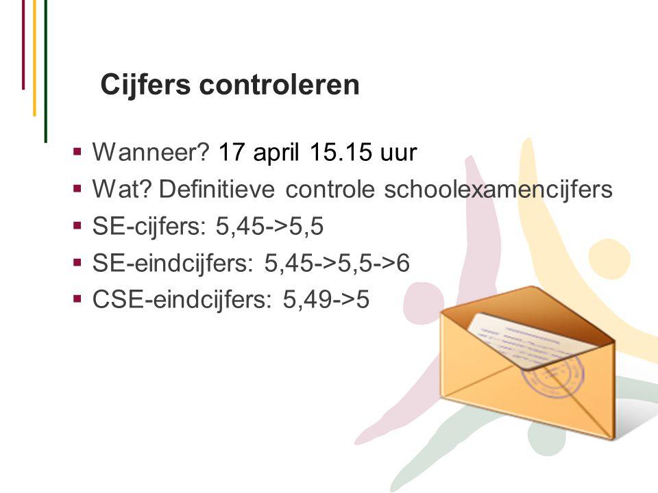 Cijfers controleren  Wanneer? 17 april 15.15 uur  Wat? Definitieve controle schoolexamencijfers  SE-cijfers: 5,45->5,5  SE-eindcijfers: 5,45->5,5-