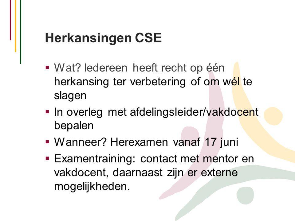 Herkansingen CSE  Wat? Iedereen heeft recht op één herkansing ter verbetering of om wél te slagen  In overleg met afdelingsleider/vakdocent bepalen